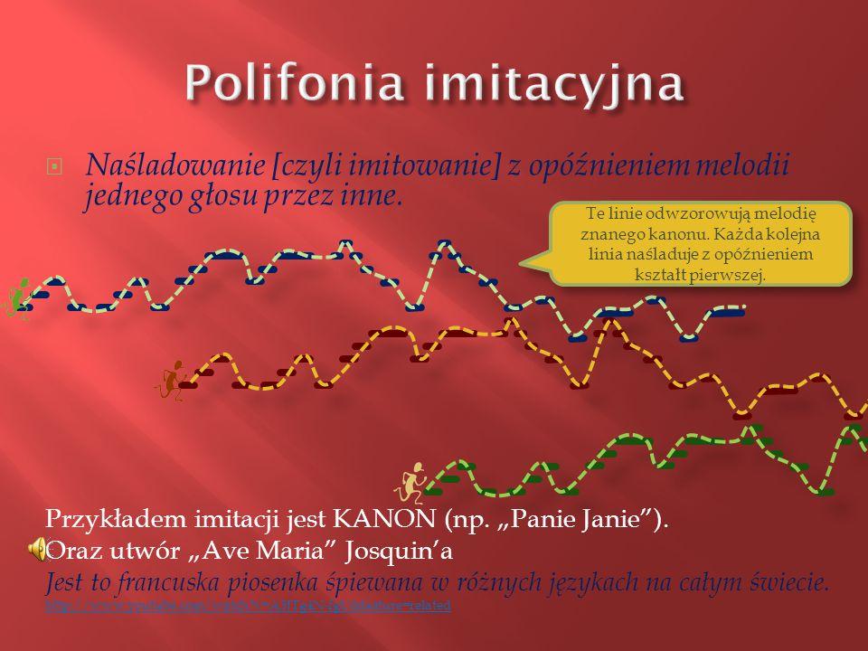 Polifonia imitacyjna Naśladowanie [czyli imitowanie] z opóźnieniem melodii jednego głosu przez inne.